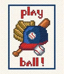 Play Ball cross stitch pattern.