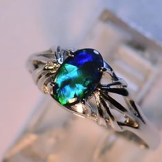 Opal Jewelry, Black Opal, Australian Opals, Opal Wholesale, 14k gold :: Just Opal :: Jewelry :: Ladies Rings :: White Gold
