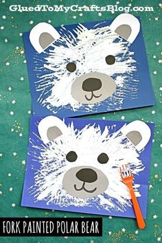 Fork Painted Polar Bear - Kid Craft Idea for Winter - - Bear Craft Fork ide .Fork Painted Polar Bear - Kid Craft Idea for Winter - Bear Craft Fork idea Kid PainOriginal Outdoor Lounge Winter Art Projects, Winter Crafts For Kids, Art For Kids, Preschool Winter, Winter Art Kindergarten, Winter Kids, Winter Crafts For Preschoolers, Painting Ideas For Kids, Simple Kids Crafts