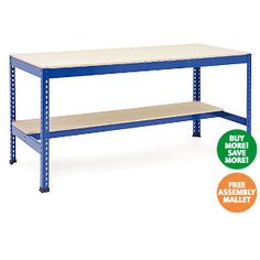 Heavy Duty Work Benches with lower half shelf  Choice of high density chipboard or melamine work surface  Each shelf can take 300 kg UDL  Protective feet  http://www.rapidracking.com/p/21/201/495/Workbenches/Heavy%20Duty%20Workbenches/Heavy%20Duty%20Work%20Benches%20With%20Lower%20Half%20Shelf.htm
