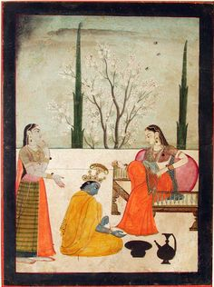 Krishna paints Radha's feet - Series Title: Connoisseur's Delight, Rasikapriya, ca. 1760 Edwin Binney 3rd Collection The San Diego Museum of Art