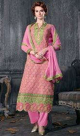 Pink Color Shaded Georgette Embroidered Pant Style Suit.  #banarasisilkpantstylesuit #indiansuitsonlineinindia Strut around like a diva, sporting this pink color shaded georgette embroidered pant style suit. The lace and resham work appears chic and perfect for any occasion.  USD $ 67 (Around £ 46 & Euro 51)