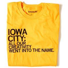 raygun t-shirt about iowa city
