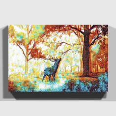 'Stag in an Autumn Forest Landscape' Art Print on Canvas East Urban Home Size: H x W