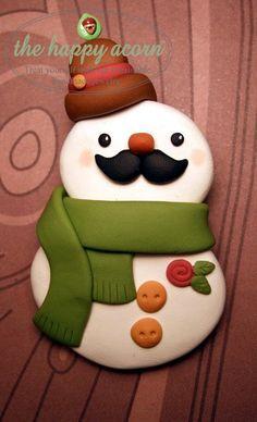 EN STOCK ET PRÊT À LEXPÉDITION.    Un bonhomme de neige avec une moustache ! Argile polymère adorable, méticuleusement fabriqués à la main bonhomme
