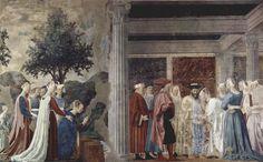 """Piero della Francesca - """"La Légende de la Vraie Croix"""" (entre 1452 et 1466) - Épisode II : """"La Reine de Saba au passage du pont sur le fleuve Siloe, se prosterne en reconnaissant le bois de la Croix, et refuse d'avancer avant sa rencontre avec le roi Salomon"""" - Peinture à fresque - Chœur de la chapelle Bacci de la basilique San Francesco d'Arezzo, Italie."""