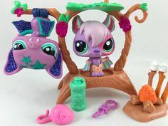 Littlest Pet Shop RARE Pair of Bats #1695 & #2142 w/Tree & Accessories #Hasbro