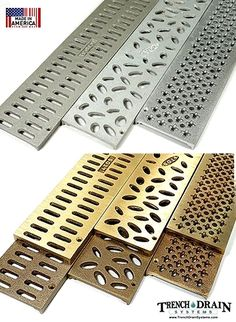 3 inch aluminum and bronze decorative grates for NDS mini-channel Drainage Grates, Surface Drainage, Gutter Drainage, Backyard Drainage, Backyard Patio, Landscape Drainage, Driveway Drain, Home Safety Checklist, Trench Drain Systems