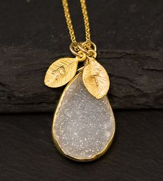 Stunning Personalized White Agate Druzy Necklace ($64)