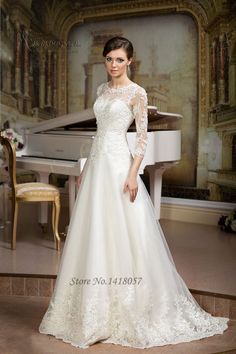 Gelinlik Ivory A Line Wedding Dress 2016 3/4 Sleeves Lace Bridal Dresses Wedding Gowns Applique Custom Made Robe de Mariage-in Wedding Dresses from Weddings & Events on Aliexpress.com | Alibaba Group