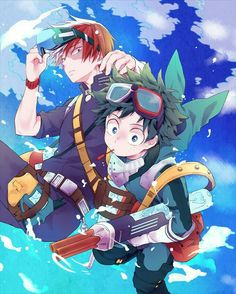 Shouto, Izuku, water, water guns, cute; My Hero Academia