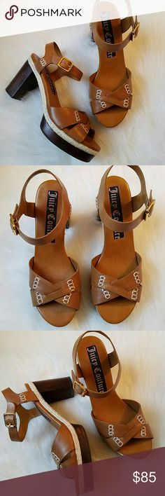 "NWOT JUICY COUTURE ""Willow"" Platform Sandals NEW w/Box JUICY COUTURE tan leather platform sandals with stitching detail and adjustable ankle strap; Price sticker remains on bottom of shoe; 1.5"" platform; 4"" wooden block heel Juicy Couture Shoes Sandals"