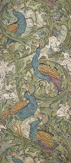 Peacock Garden wallpaper Art Print by Walter Crane. All prints are professionally printed, packaged, and shipped within 3 - 4 business days. Walter Crane, Textiles, Textile Patterns, Textile Design, Garden Wallpaper, Of Wallpaper, Peacock Wallpaper, Silver Wallpaper, Wallpaper Designs