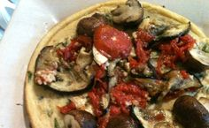 socca tart with roasted veggies.  could use more flavour maybe sauce.  but very good and easy