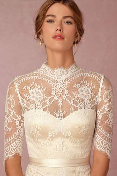 vintage wedding dress bodice with lace sleeves and high neckline @myweddingdotcom
