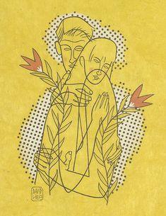 'embrace' by david hile David, Fine Art, Paper, Wood, Woodwind Instrument, Timber Wood, Trees, Visual Arts