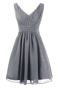 Topdress Women's Short Bridesmaid Dresses V-Neck Prom Party Dress with Pocket