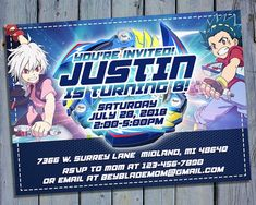 Beyblade Invitation Beyblades Birthday Bey Blade Boy Party Digital Card Invites Personalized