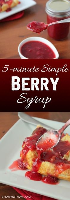 This Simple Berry Syrup adds beautiful color, delicious flavor and a touch of sweetness. Add it to breakfast or dessert for a sweet berry twist. Sweets Recipes, Fruit Recipes, Easy Desserts, Syrup Recipes, Sweet Desserts, Dessert Simple, Healthy Breakfast Casserole, Breakfast Recipes, Breakfast Ideas
