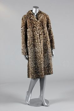 Ocelot Coat 1950's, British, Made of rayon and ocelot