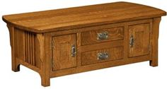 Amish Outlet Store : Craftsman Cabinet Coffee Table in Oak