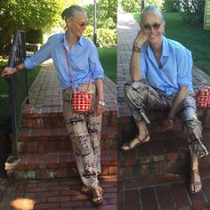 Amagansett put a definite smile on My face. blue Cotton shirt (I brought 12 white ones And six blue ones for My vacation… 60 Fashion, Mature Fashion, Fashion Over 50, Fashion Outfits, Mode Ab 50, Advanced Style, 50 Style, Trends 2018, Casual Chic