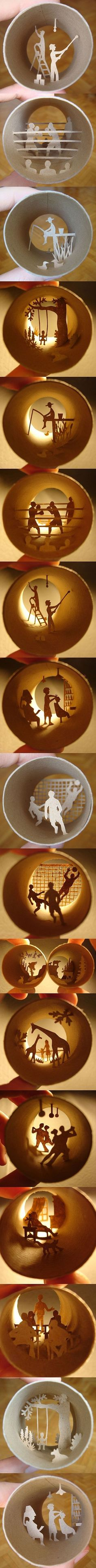 Toilet paper rolls could not be used any better than this... amazing an tiny papercuts, would be so awesome with a few of them on the wall.