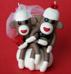 Sock Monkey Wedding Cake Topper Cupcake and/ or by SpiritMama, $43.00
