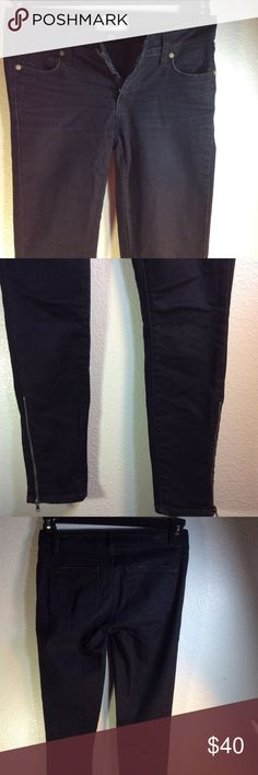 Paige Verdugo Ankle Zippered Cuff Jeans Low rise, body-contouring, black wash ankle jeans.  Perfect for showing off your footwear.  Waist: 27 Rise: 7 Thigh: 14 Hip: 30 Cuff: 9 Inseam: 26  Pre-owned jeans. No stain, fraying, or holes. Item #WJ19 (for my reference) Paige Jeans Jeans Skinny