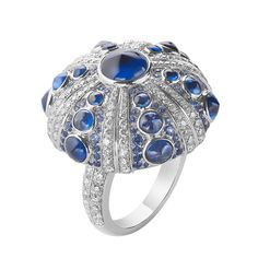 Boucheron Oursin ring with diamonds and cabochon sapphire. The Jewellery Editor.