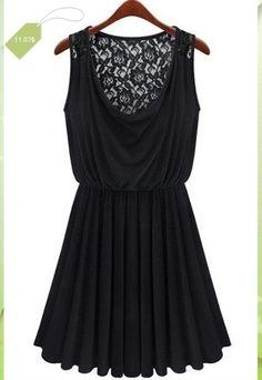 Stylish Black Scoop Neck Sleeveless Back Lace Spliced Pleated Dress For Women