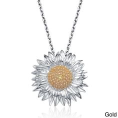 Collette Z Sterling Silver Cubic Zirconia Sunflower Necklace | Overstock.com