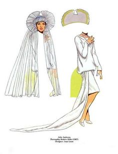 Julie Andrews paper doll wedding dress by Tom Tierney / Dover Publications