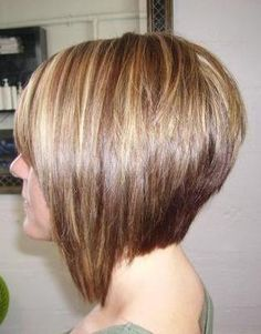 bob layered hair cut with asymmetric style, longer on front side and shorter on back of neck.