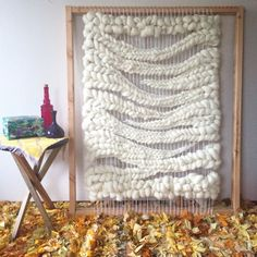 Woven wool wall hanging on the loom // weaving by Jeannie Helzer Holy sheep! Weaving Textiles, Weaving Art, Tapestry Weaving, Loom Weaving, Wall Tapestry, Hand Weaving, Wool Wall Hanging, Weaving Wall Hanging, Wall Hangings