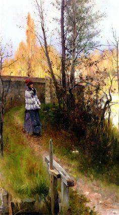 Karin in Autumn -  Artist: Carl Larsson Place of Creation: Sweden Style: Art Nouveau (Modern) Genre: genre painting