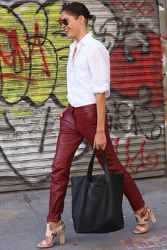 Maroon leather looks so simple #streetstyle #nyfw