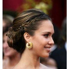 side braid, low bun