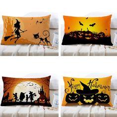 30x50cm 4 Pattern Halloween Fashion Cotton Linen Pillow Case Home Sofa Cushion…