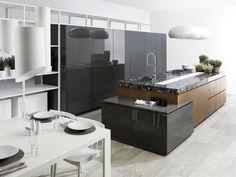 Cuisine avec îlot centrale en marbre blanc  dans Architecture d'intérieur . Idée décoration de cuisines Design et Contemporaines sur Domozoom.