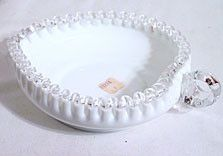 Fenton - Silver Crest - Milk Glass - Heart Shaped Dish - w/ Original Sticker