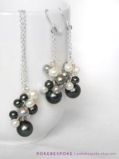 Bridesmaid Jewelry Set  Charcoal Black Silver Grey by PokeBespoke, $20.00
