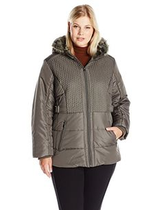 426fbc38c6129 Details Women s Plus Size Puffer Coat with Braided Quilting Faux-Fur  Trimmed Hood