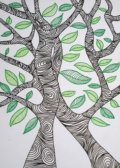 32 New Ideas Drawing Ideas Trees Doodles Zentangle Patterns Zentangle Drawings, Zentangle Patterns, Doodle Drawings, Zentangles, Tree Drawings, Doodle Patterns, Doodle Art, Zen Doodle, Doodle Trees