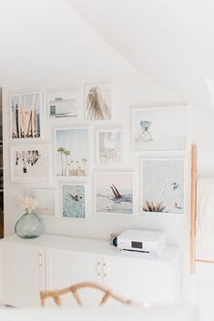 Connecticut life and style blogger Lauren McBride shares her coastal office gallery wall featuring artwork from Minted.