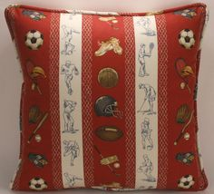 """A set of 2 18"""" Red Football Baseball Soccer Basketball Golf Fabric Handmade Sports Theme Designer Throw Pillows. Two 18"""" square pillows with white and red stripes with baseball, basketball, squash, soccer, football, and golf equipment. The front, back, and welt are all the same fabric. The first photo shows the pattern for the fronts, and the second photo shows the pattern for the backs. The edges of the pillows are serged prior to sewing for added durability. The outside edge is finished..."""