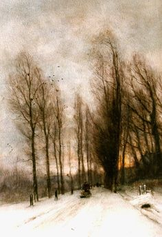 Lodewijk Franciscus Hendrik 'Louis' Apol (Den Haag 1850-1936) A snow-covered country lane - Dutch Art Gallery Simonis and Buunk Ede, Netherlands.