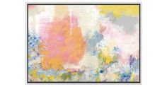 This colorful abstraction from artist Valerie Tovar adds an uplifting note to your decor. Printed on gallery wrapped canvas, this reproduction is set in a white floater frame and arrives ready to...