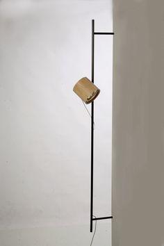 Handmade Light by Asaf Weinbroom - Spot On light. White oak and black aluminium tube | Yellowtrace