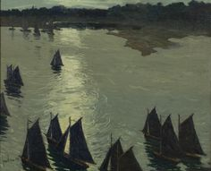 """Harbor Scene, Cape Ann,"" Jonas Lie, 1909, oil on canvas, Montclair Art Museum."
